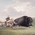 A buffalo hunt by George Catlin