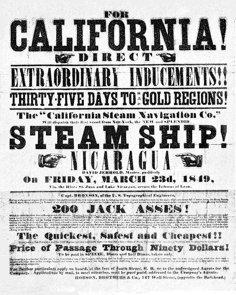 gold rush california 1849. California Gold Rush handbill