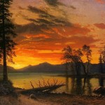 Sunset over the river, Albert Bierstadt