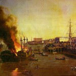 A burning ship in San Francisco, 1853