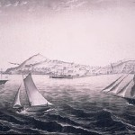 San Francisco Bay view of Meiggs Wharf 1854