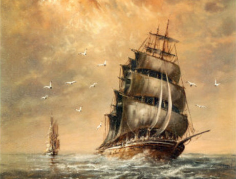 Painting of a Brig off Sandy Hook