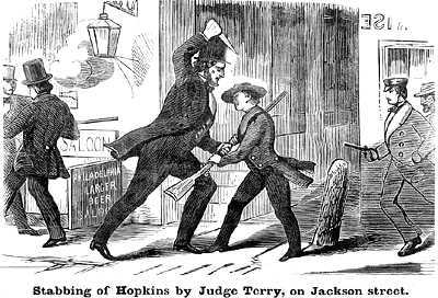 Justice Terry stabs Sterling Hopkins